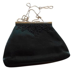 Hillard & Hanson Satin Evening Black Clutch
