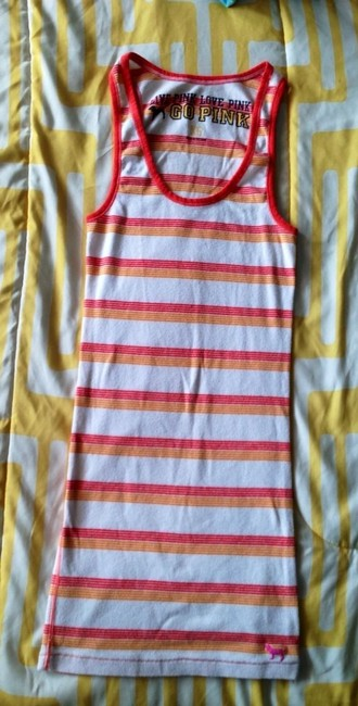 PINK Vs Victorias Secret Xs Striped Multicolor Summer Workout Exercise Gym Clothes Top Orange, Red