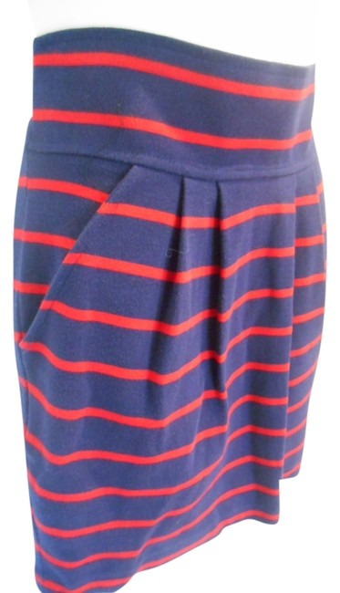 Item - Navy and Red Stripe Thick Cotton Knit Zip Pockets Small 4 S Skirt Size 6 (S, 28)