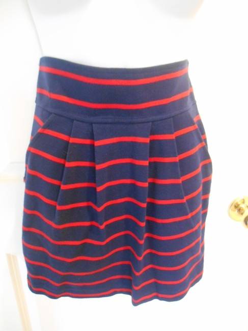 Forever 21 Twenty One Knit Blend Side Zip Nautical July 4th Patriotic Sailing Preppy Classic Classic Mini Knee Length Summer Skirt Navy and Red