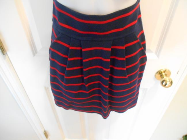 Forever 21 Twenty One Cotton Knit Cotton Blend Side Zip Nautical July 4th Patriotic Sailing Preppy Classic Classic Mini Knee Length Skirt Navy and Red
