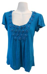 Bobeau Ethnic Artsy Edgy T-shirt Summer 8 Small 6 4 Sm S Boutique Unique Unique Tunic Nordstrom T Shirt Teal Blue