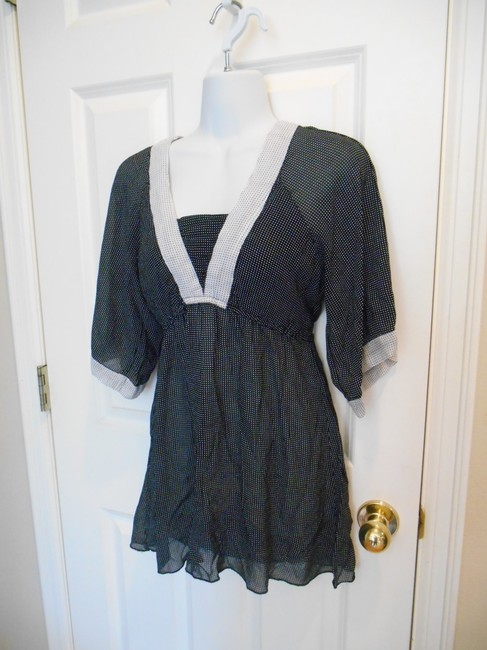 Angie Polka Dot Tunic Large L Lg 12 14 Boho Hippy Classic Tie Figure Flattering T Shirt Black with White