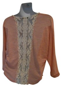 Papaya Back Back T Shirt Peachy pink with cream lace