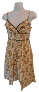 Fire short dress Cream with multi-colors Floral Print on Tradesy