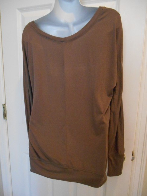 Poof! Apparel Soft Layers Summer Spring Tan Knit Beach Campus Banded Bottom Long Sleeve Scoop Neck T Shirt Brown