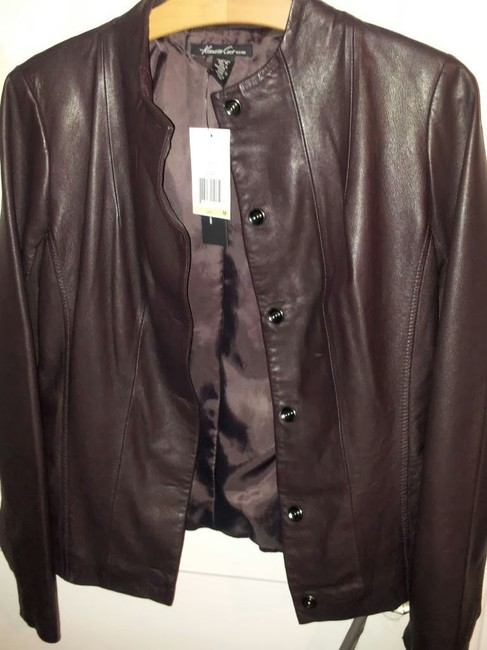 Kenneth Cole New Burgundy, Mahogany Leather Jacket