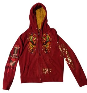 Ed Hardy R & Gold Fur Hoodie Size: Mium RED Jacket