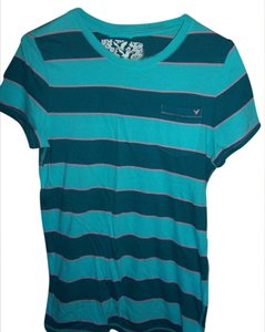 American Eagle Outfitters T Shirt striped turquoise blue, turquoise & pink