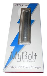 iEnjoy MyBolt iEnjoy 2600mAh Portable USB Flash Charger Silver - New in Package