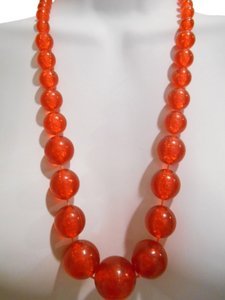 Vintage Fun Bauble Necklace Bubbles Inside Statement Necklace Orange