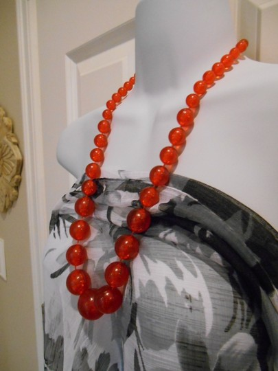 Other Vintage Fun Bauble Necklace Bubbles Inside Statement Necklace Orange