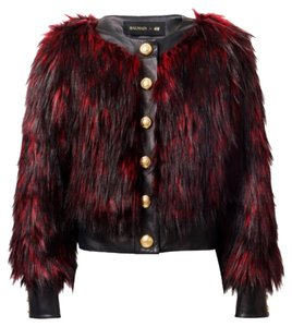 Balmain x H&M Red Leather Jacket