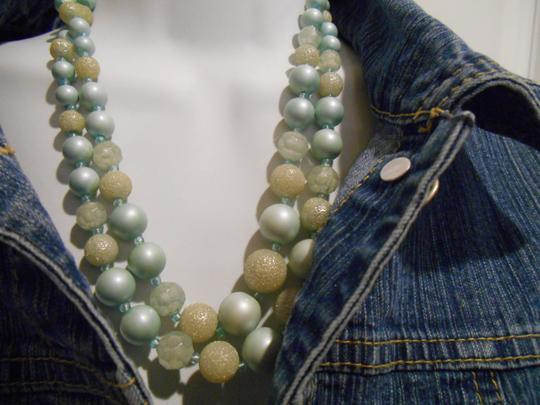 Other VINTAGE Blue White Double Strand Necklace Accent Jewelry Pearls