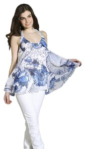 Roberto Cavalli Blue/White Halter Top