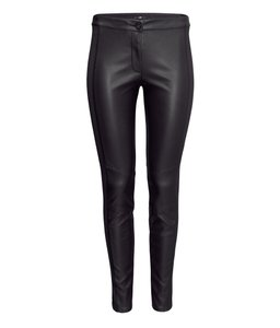 H&M Faux Leather Slim-fit Jersey Skinny Pants Black