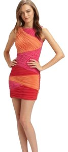 BCBGMAXAZRIA Textured Color-blocking Bright Sheath Bodycon Comfortable Dress