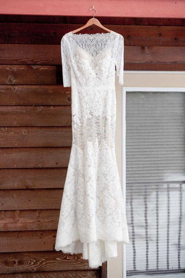 Watters Ivory/Amaretto Chantilly and Corded Lace with A Stretch Silk ...