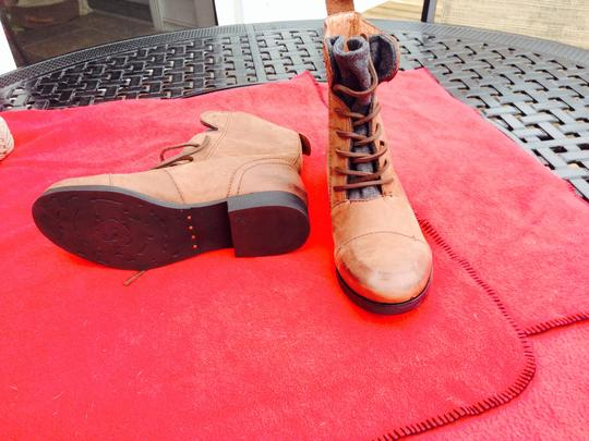 Modern Vintage Lace Up Front Grey Flannel Tounge Brown Boots