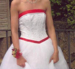 David's Bridal Strapless Tulle Ball Gown With Beaded Satin Bodice Wedding Dress