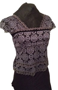 Hanky Panky Lisette's Closet Lisette Steam Punk Lace Cap Sleeve Lace Steam Punk Lace Lace Lined Lace Corset Waist Corset Lace Top Inkwell blue and black