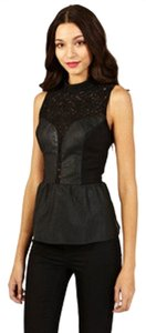 Oasis Lace Faux Leather Victorian Peplum Blouse Sleeveless Top Black