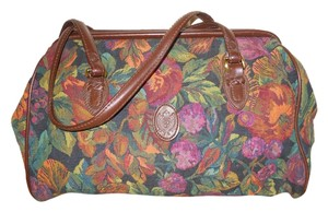 Liz Claiborne Vintag Vintage Leather Tapestry Satchel in brown multi print