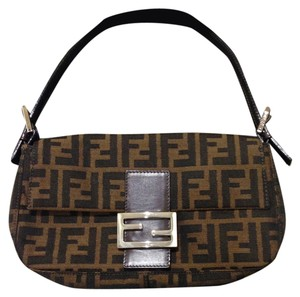 Fendi Zucco Baguette Strap Logo Canvas Leather Trim Shoulder Bag