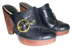 Frye Leather Buckle Brass Braided Black Mules