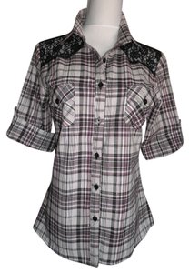 Check Me First Button Down Shirt Purple, Black, White Plaid