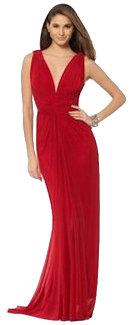 Cache Red Grecian Gown Long Formal Dress Size 12 (L) Cache Red Grecian Gown Long Formal Dress Size 12 (L) Image 1