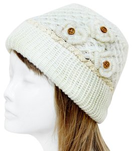 Other White Knitted Lace Trim Buttoned Beanie Winter Hat Cap Head Warmer