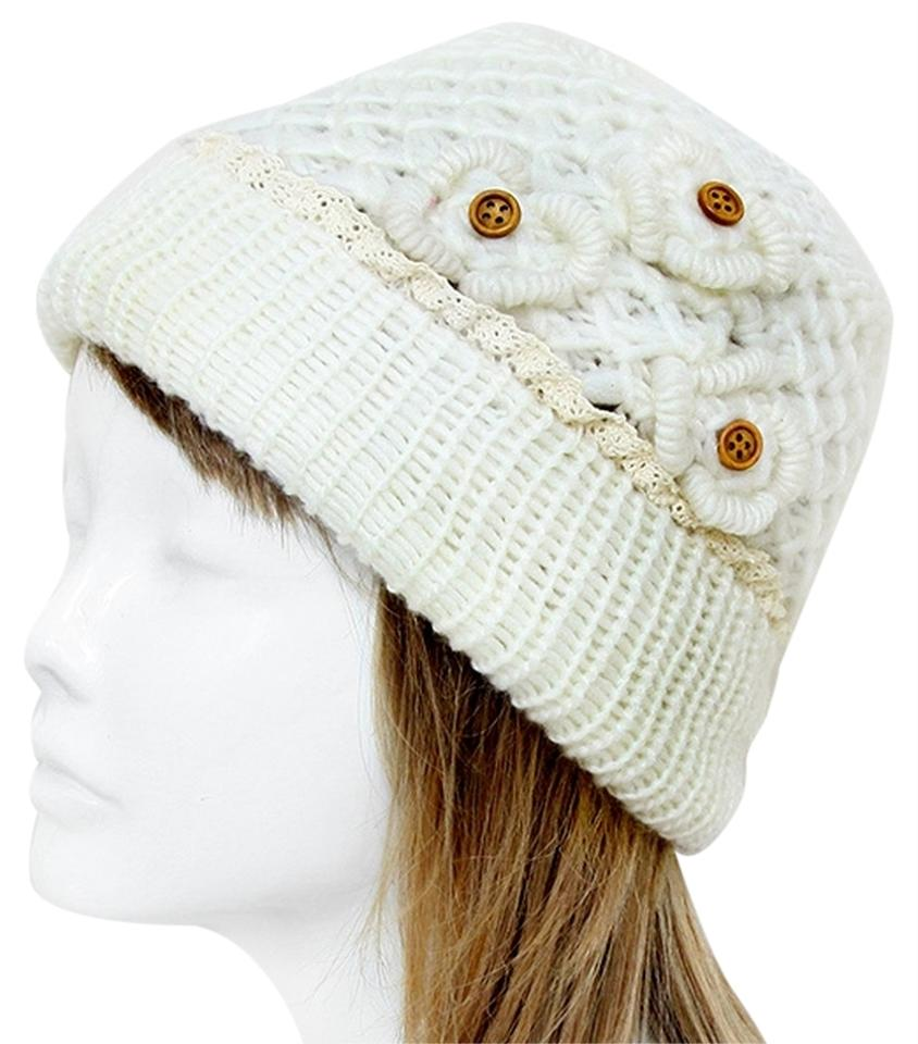 5218f1813e6 Other White Knitted Lace Trim Buttoned Beanie Winter Hat Cap Head Warmer ...