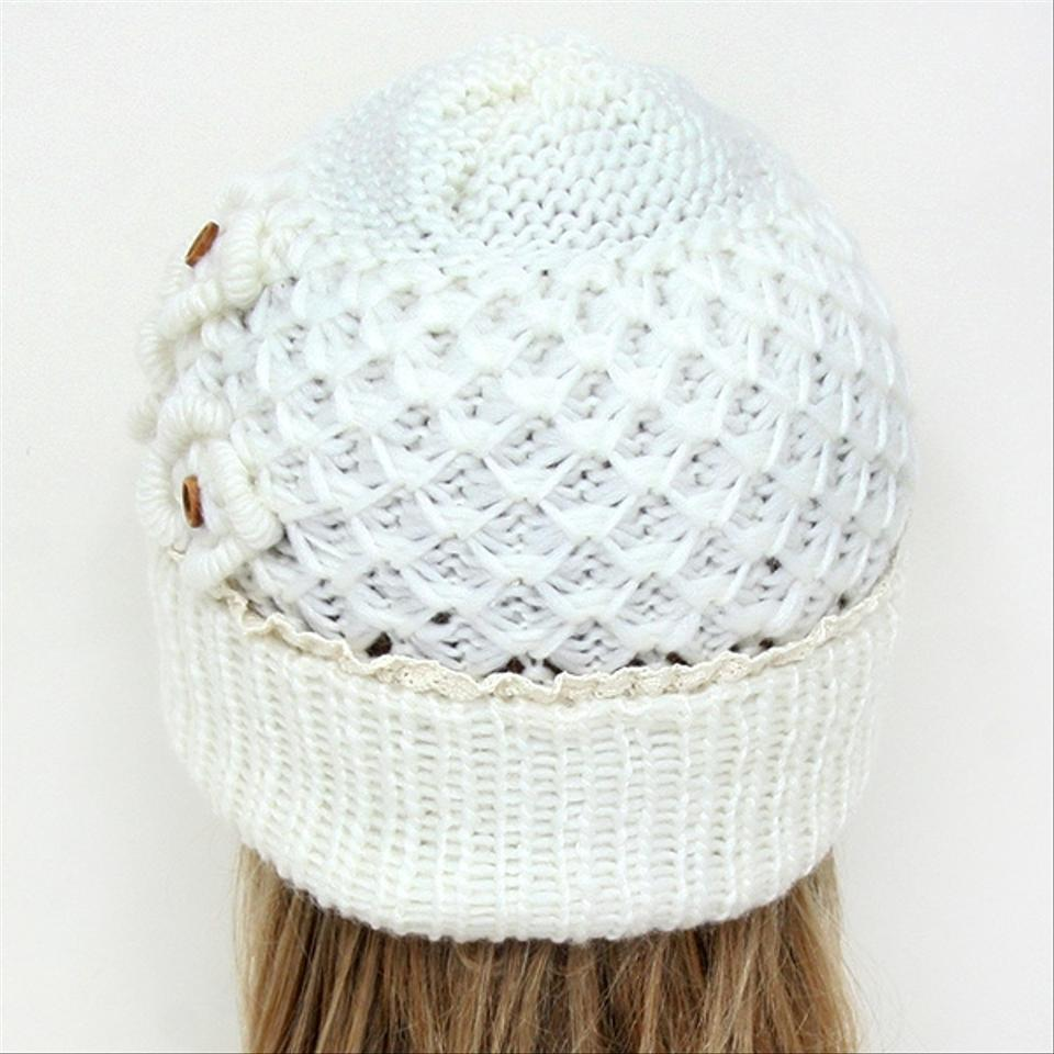 35da34815ae Other White Knitted Lace Trim Buttoned Beanie Winter Hat Cap Head Warmer. 12