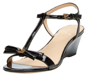 Kate Spade Open Toe Sandals Patent Leather Strappy Black Wedges