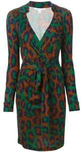 Diane von Furstenberg Wrap Office Leopard Wrap Low V Collared Work Casual Sophisticated Chic Print Animal Dress