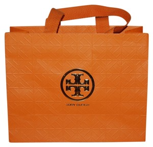 4aa8f0bc9636 Tory Burch Shopping Tote in Orange with Gold Embossed Emblem