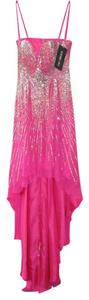 Sherri Hill Jewels Bling Rhinestones Sweetheart Pink Silk Pageant Dress