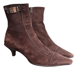 Prada Suede Ankle Brown Boots