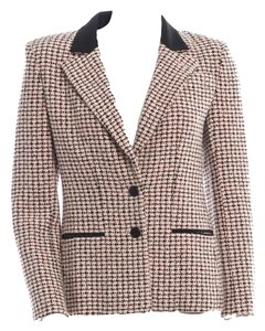 Chanel Tweed Jacket Classic Collar Lapel Single Breasted Piping Lined Pink, Black, White Blazer