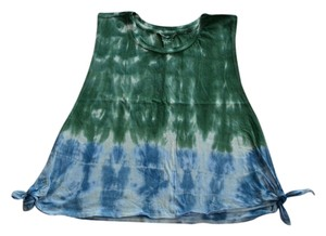 Forever 21 Tie Dye Casual Top Dark Green, Royal Blue
