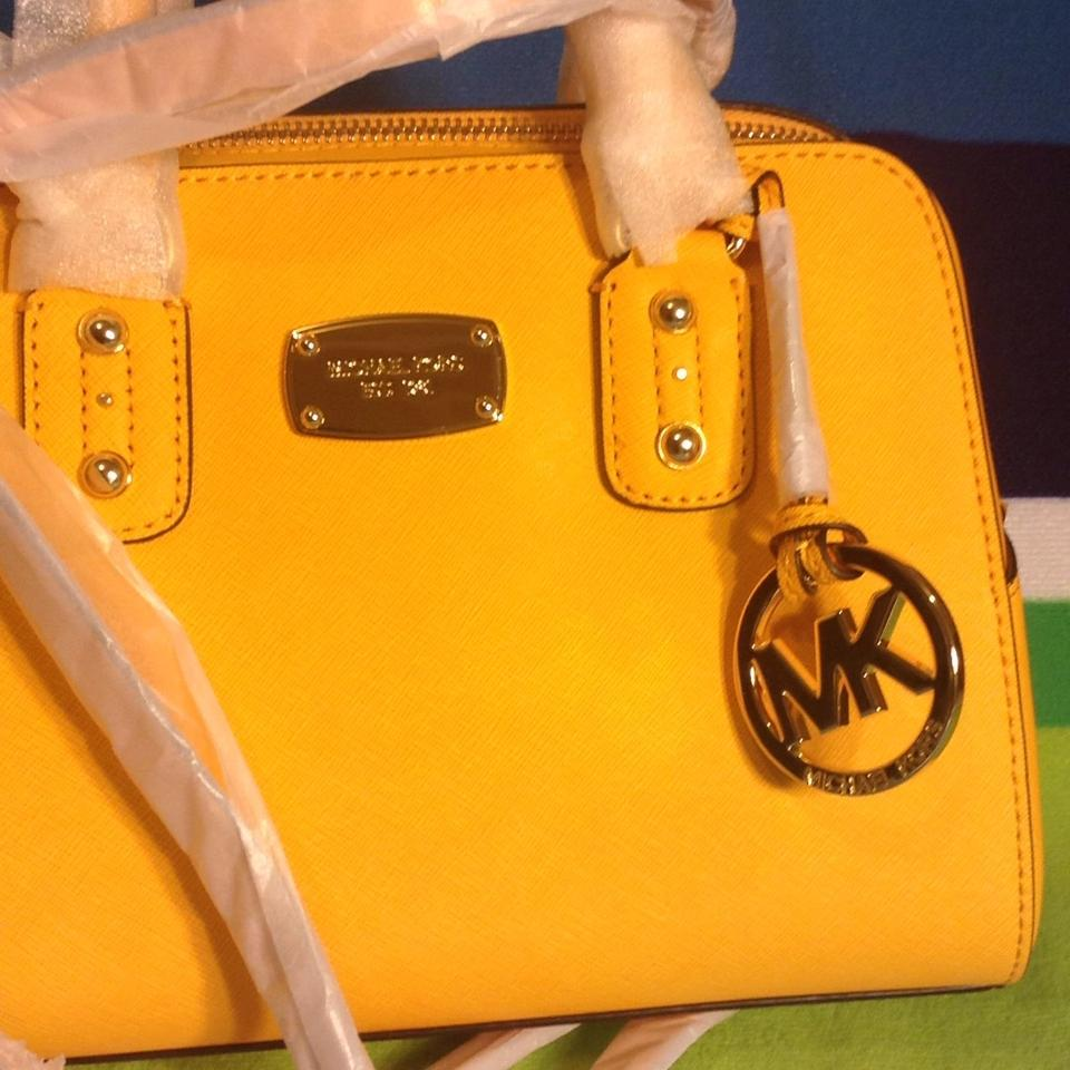 Michael Kors Large Saffiano with Gift Vintage Yellow Leather Satchel 73% off retail