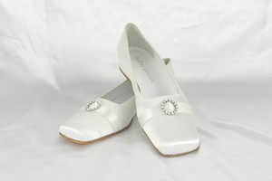 Shelley George Daisy White Silk Satin Wedding Shoes