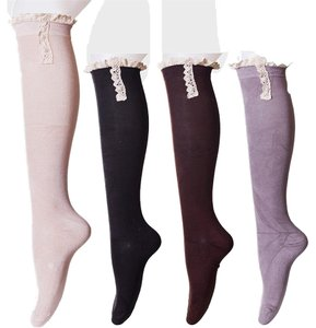 4 Pairs Lace Top Pearl Button Accent Knitted Boot Socks Knee Highs