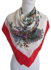 Fittorio Authentic Fittorio White Red Floral Silk Scarf - 33