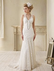 Alfred Angelo Dramatic Drop Waist Lace Wedding Dress 8507 Wedding Dress