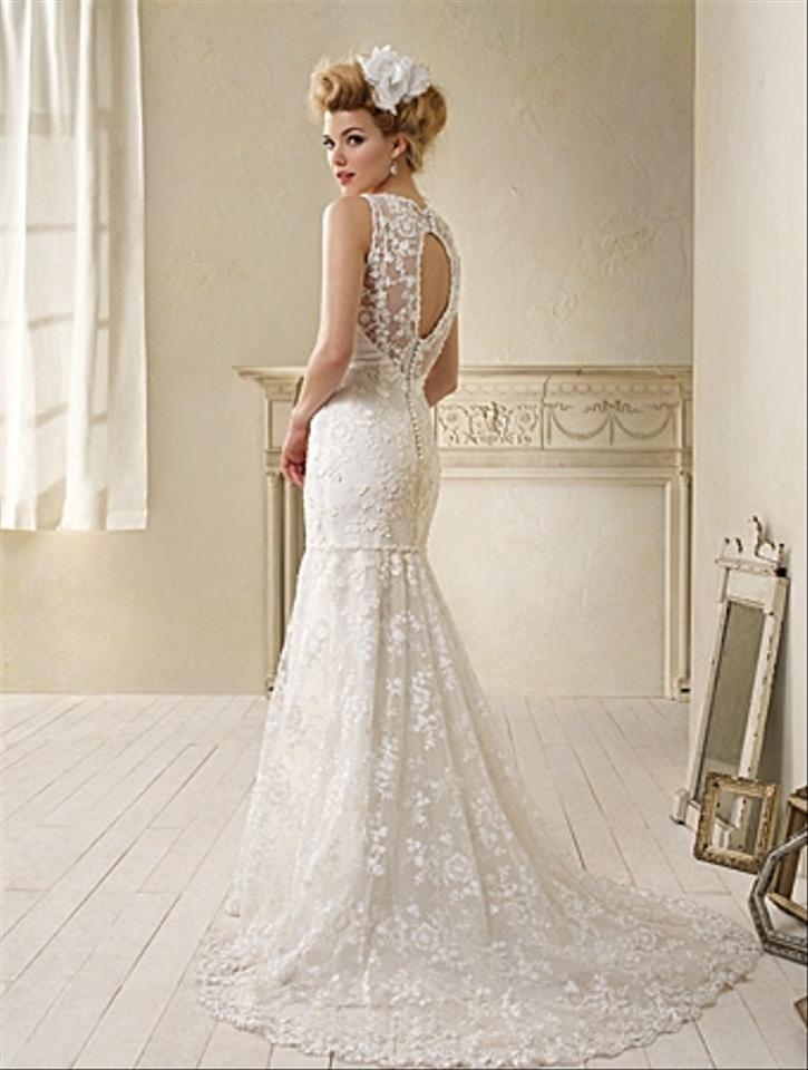 Alfred Angelo White Dramatic Drop Waist Lace 8507 Feminine Wedding ...