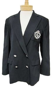 Ralph Lauren Womens Lauren Ralph Lauren Black Wool Crest Double Breasted Blazer