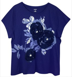 Madison Top Royal Blue with Rose & Pearl Design 2x
