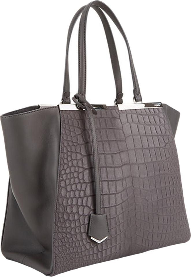 Fendi 3 Jours Grey Leather and Fur Satchel - Tradesy 98309a0a3f876